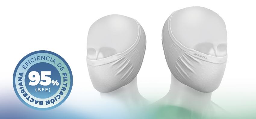 Máscara Muvu Ítaca, eficacia de la filtración bacteriana (BFE) ≥ 95%