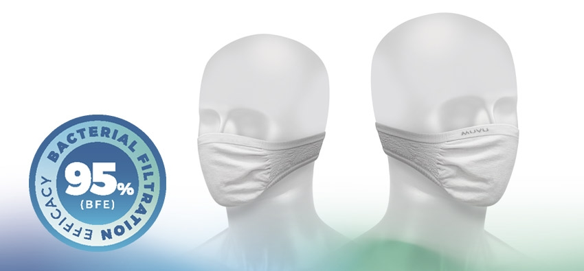 Muvu Itaca mask, bacterial filtration efficiency (BFE) ≥ 95%
